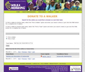 Screenshot of Donation Search Page